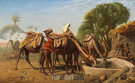 Camels at the Watering-Place, 1857 | Gerome | Gemälde Reproduktion