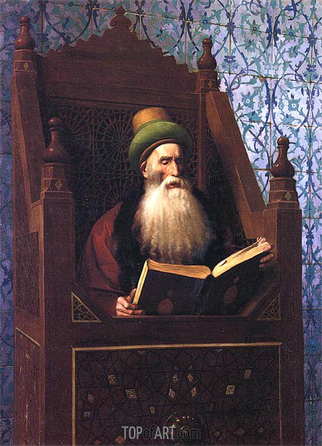 Mufti Reading in His Prayer Stool, c.1900 | Gerome | Painting Reproduction