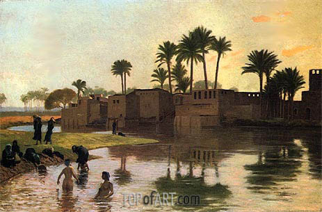 Bathers by the Edge of a River, undated | Gerome | Painting Reproduction