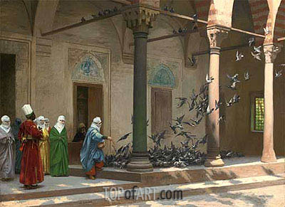 Harem Women Feeding Pigeons in a Courtyard, 1894 | Gerome | Painting Reproduction