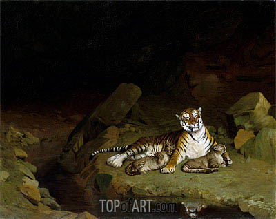 Tiger and Cubs, c.1884 | Gerome | Painting Reproduction