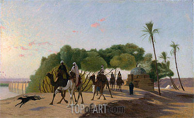 Leaving the Oasis, c.1880/90 | Gerome | Painting Reproduction