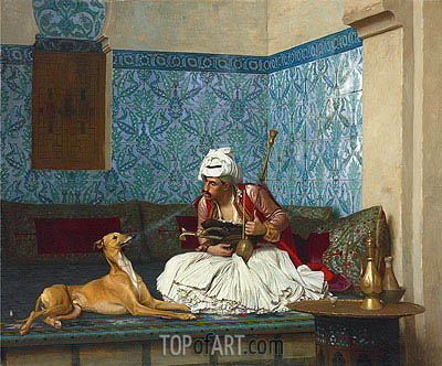 A Joke (Arnaut Blowing Tobacco Smoke at the Nose of His Dog), 1882 | Gerome | Gemälde Reproduktion