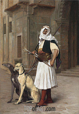 Arnaut with Two Whippets Dogs, 1867 | Gerome | Painting Reproduction