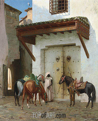 Horses Kept by a Slave, 1875 | Gerome | Painting Reproduction