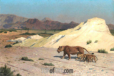 Lioness and Cubs, undated | Gerome | Painting Reproduction