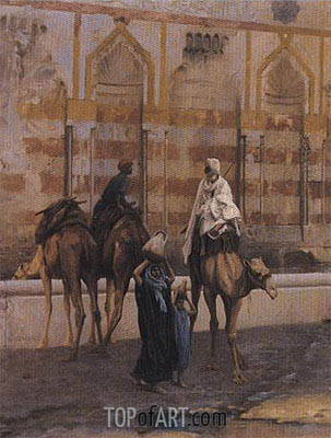 Camels at the Watering Place (Detail), 1894 | Gerome | Painting Reproduction