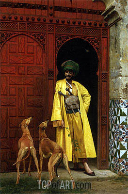 An Arab and His Dogs, 1875 | Gerome | Painting Reproduction