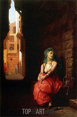 Young Arab Woman with Narghile, 1873 | Gerome | Painting Reproduction