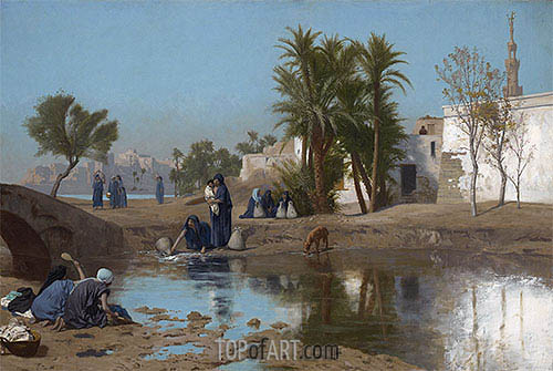 Fellah Women Drawing Water, c.1873/75 | Gerome | Painting Reproduction