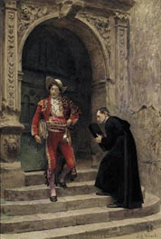 Figaro and a Priest, undated by Jehan Georges Vibert | Painting Reproduction
