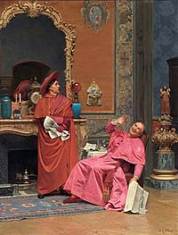 Les Journaux, undated by Jehan Georges Vibert | Painting Reproduction