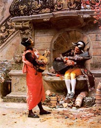 The Serenade, undated by Jehan Georges Vibert | Painting Reproduction