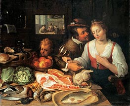 Kitchen Scene, 1613 by Jeremias van Winghe | Painting Reproduction