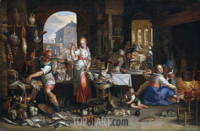 Kitchen Scene with the Parable of the Feast, 1605 | Joachim Wtewael | Painting Reproduction