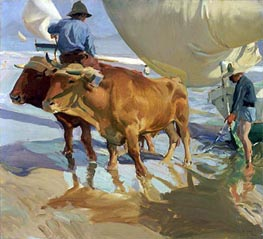 Oxen on the Beach | Sorolla y Bastida | Painting Reproduction