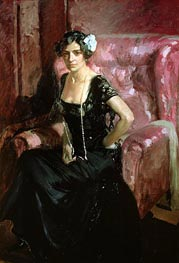 Clotilde in an Evening Dress, 1910 von Sorolla y Bastida | Gemälde-Reproduktion