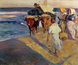 Towing in the boat, Valencia Beach, 1916 von Sorolla y Bastida | Gemälde-Reproduktion
