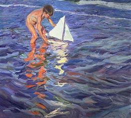 The Young Yachtsman, 1909 by Sorolla y Bastida | Painting Reproduction