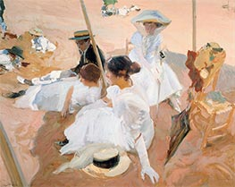 Under the Parasol, Zarauz, 1910 by Sorolla y Bastida | Painting Reproduction