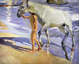 Washing the Horse, 1909 by Sorolla y Bastida | Painting Reproduction