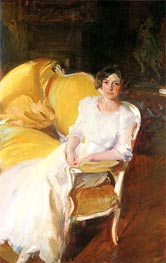 Clotilde Seated on the Sofa, 1910 by Sorolla y Bastida | Painting Reproduction
