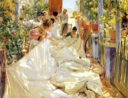 Mending the Sail, 1896 von Sorolla y Bastida | Gemälde-Reproduktion