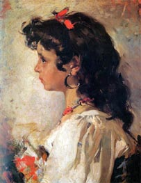 Head of a Italian Girl | Sorolla y Bastida | Painting Reproduction