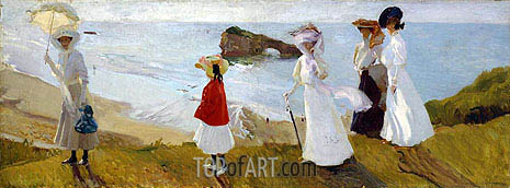 Lighthouse Walk at Biarritz, 1906 | Sorolla y Bastida | Painting Reproduction