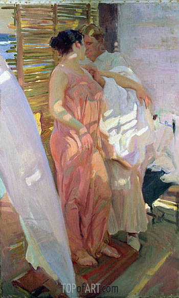 After the Bath (The Pink Robe), 1916 | Sorolla y Bastida | Painting Reproduction