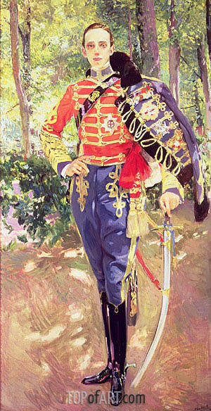Portrait of King Alfonso XIII wearing the uniform of the Hussars, 1907 | Sorolla y Bastida | Painting Reproduction