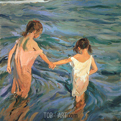 Children in the Sea, 1909 | Sorolla y Bastida | Painting Reproduction