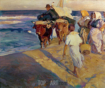 Towing in the boat, Valencia Beach, 1916 | Sorolla y Bastida | Painting Reproduction