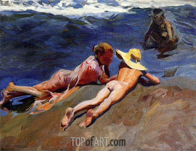 On the Sand, Valencia Beach, 1908 | Sorolla y Bastida | Painting Reproduction