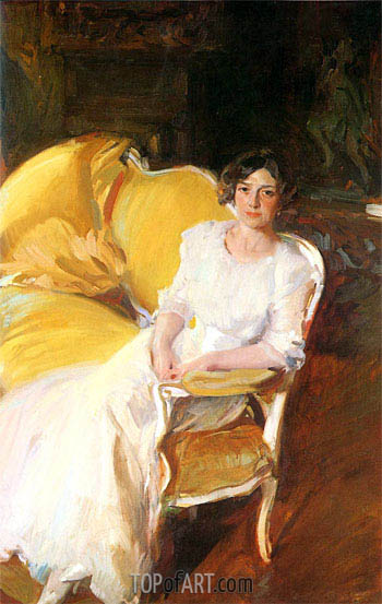 Clotilde Seated on the Sofa, 1910 | Sorolla y Bastida | Painting Reproduction