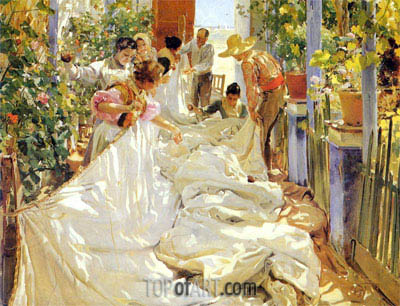 Mending the Sail, 1896 | Sorolla y Bastida | Painting Reproduction