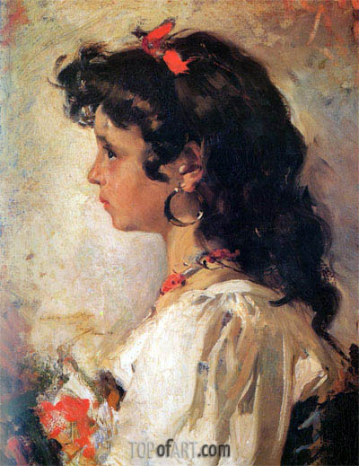 Head of a Italian Girl, 1886 | Sorolla y Bastida | Painting Reproduction