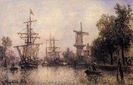 The Port of Rotterdam, 1869 by Jongkind | Painting Reproduction