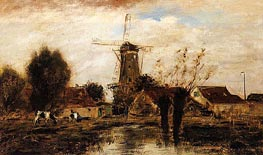 Landscape with Windmill | Jongkind | Painting Reproduction
