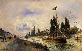 The Barge on the Canal near Paris, 1870 by Jongkind | Painting Reproduction
