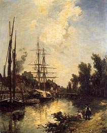 Boats Dockside | Jongkind | Painting Reproduction