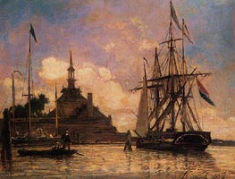 The Port of Rotterdam, 1857 by Jongkind | Painting Reproduction