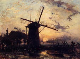 Boatman by a Windmill at Sundown, 1859 von Jongkind | Gemälde-Reproduktion