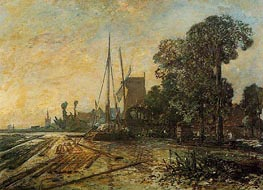 Windmill near the Water, 1860 von Jongkind | Gemälde-Reproduktion