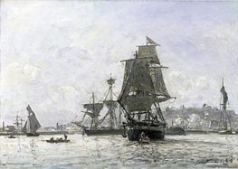 Large Sailing Boats at Honfleur, 1865 von Jongkind | Gemälde-Reproduktion