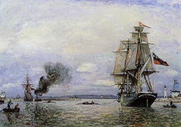 Leaving the Port of Honfleur, 1865 by Jongkind | Painting Reproduction