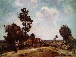 Landscape with Female Figure, 1862 by Jongkind | Painting Reproduction