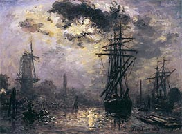 View of the Port (The Windmills in Rotterdam) | Jongkind | Painting Reproduction