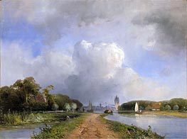 View of the Vliet near Delft, 1844 by Jongkind   Painting Reproduction