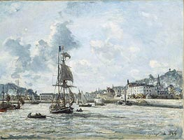Entrance to the Port of Honfleur, 1864 by Jongkind   Painting Reproduction